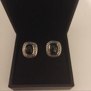 DAVID YURMAN Albion Black Onyx n Gold Earrings
